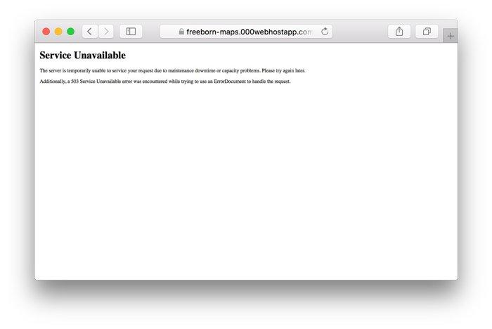 Ejemplo de error 503 service unavailable en WordPress
