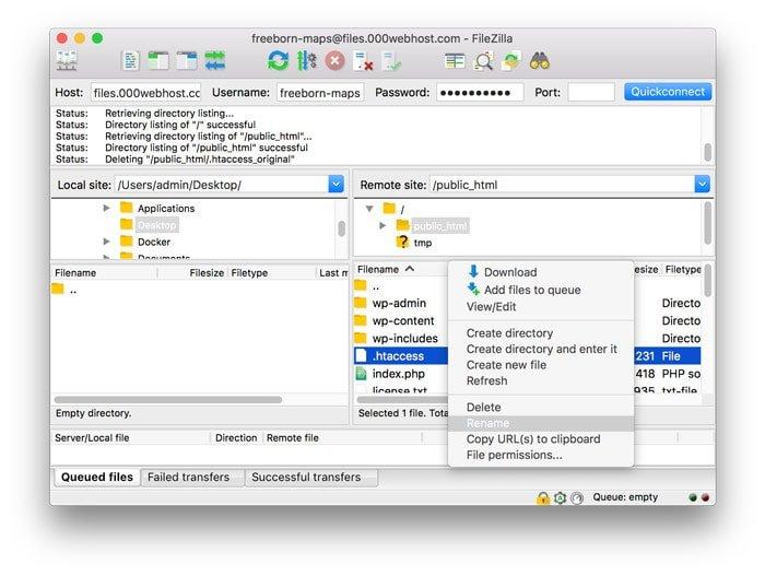 Cambiar el nombre al archivo .htaccess para solucionar el problema de servidor interno