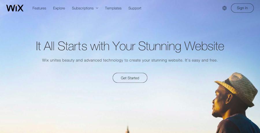Pagina de Inicio de Wix