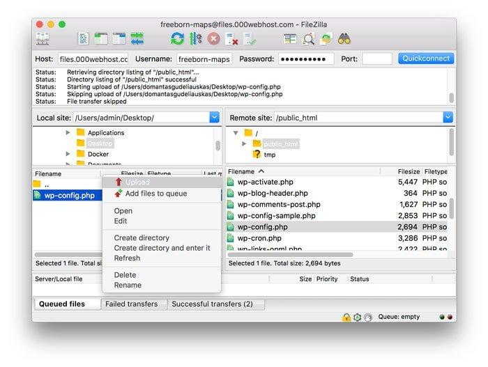 sube el archivo wp-config.php a tu directorio de WordPress