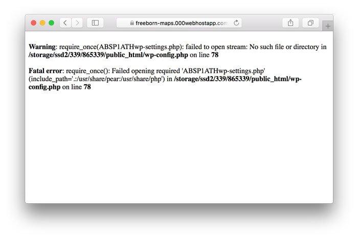 WordPress Muestra el Error